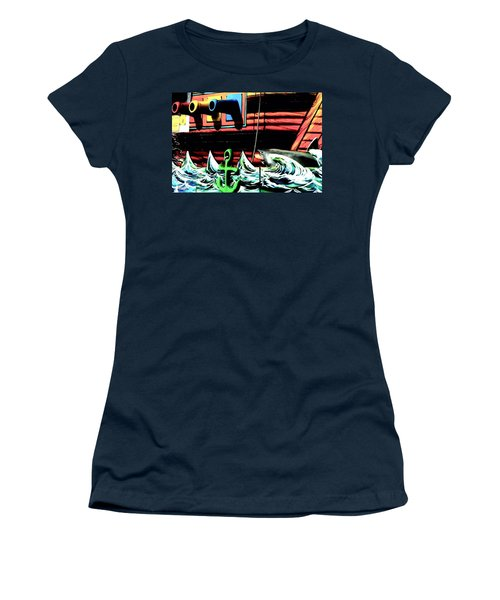 Shark And Pirate Ship Pop Art Posterized Photo Women's T-Shirt (Athletic Fit)
