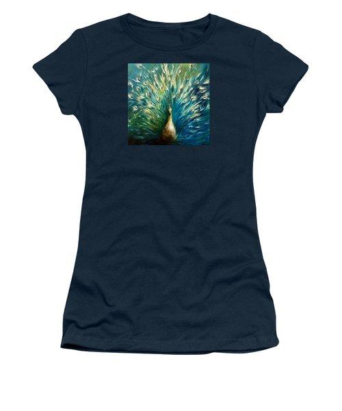 Show Off 3 White Peacock Women's T-Shirt (Junior Cut) by Dina Dargo