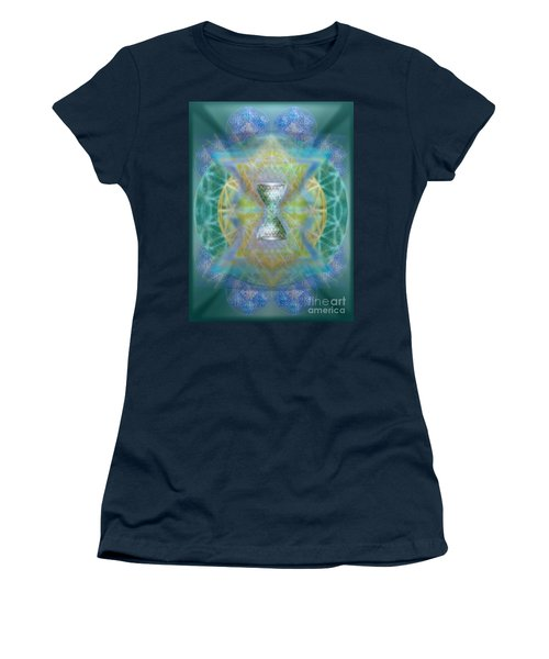 Silver Torquoise Chalicell Ring Flower Of Life Matrix II Women's T-Shirt (Athletic Fit)