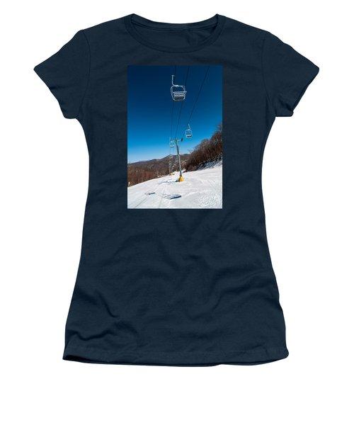 Women's T-Shirt featuring the photograph Ski Lift by Alex Grichenko