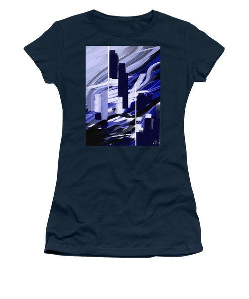 Women's T-Shirt featuring the painting Skyline Reflection On Water by Jennifer Hotai