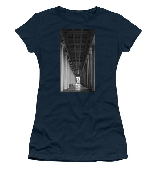 Soldier Field Colonnade Chicago B W B W Women's T-Shirt (Junior Cut) by Steve Gadomski