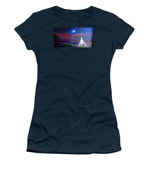 Women's T-Shirt (Junior Cut) featuring the painting Song Of The Silent Autumn Night by Kimberlee Baxter