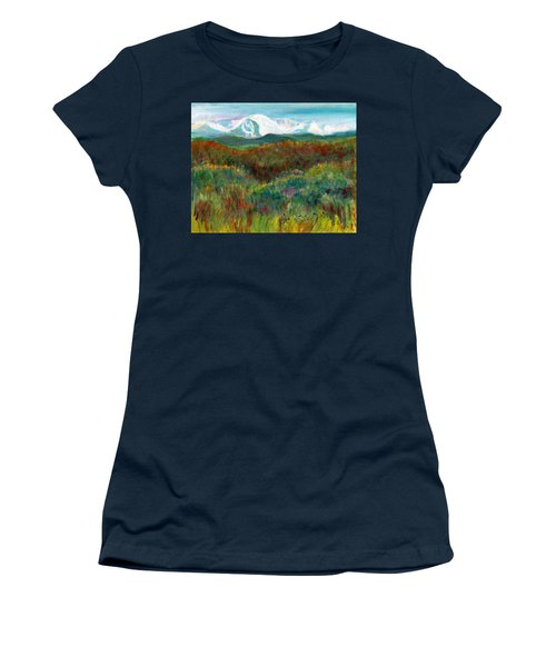 Women's T-Shirt (Junior Cut) featuring the painting Spanish Peaks Evening by C Sitton