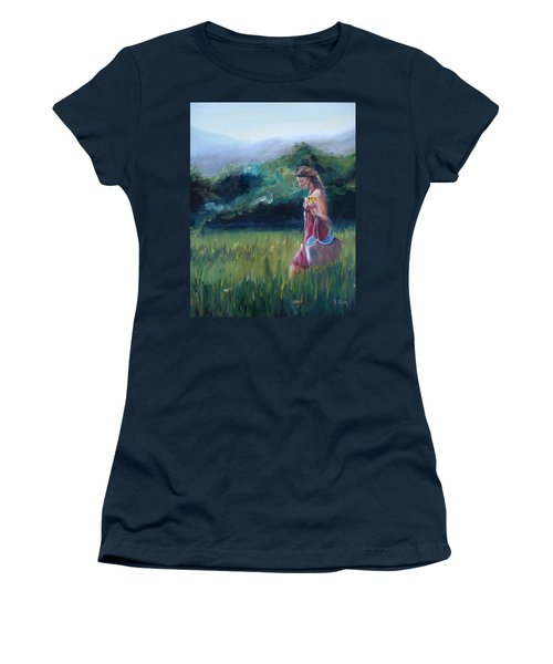 Women's T-Shirt (Junior Cut) featuring the painting Spring Stroll by Donna Tuten