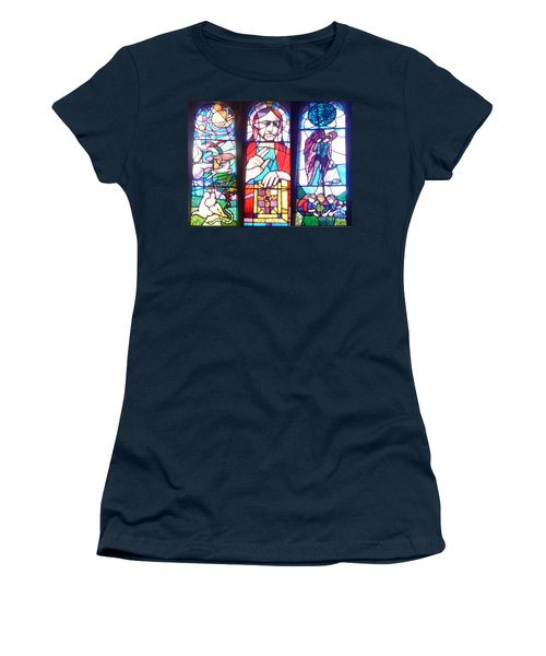 Stained Glass Window Women's T-Shirt (Junior Cut) by John Williams