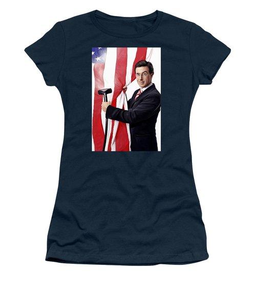 Women's T-Shirt (Junior Cut) featuring the painting Stephen Colbert Artwork by Sheraz A
