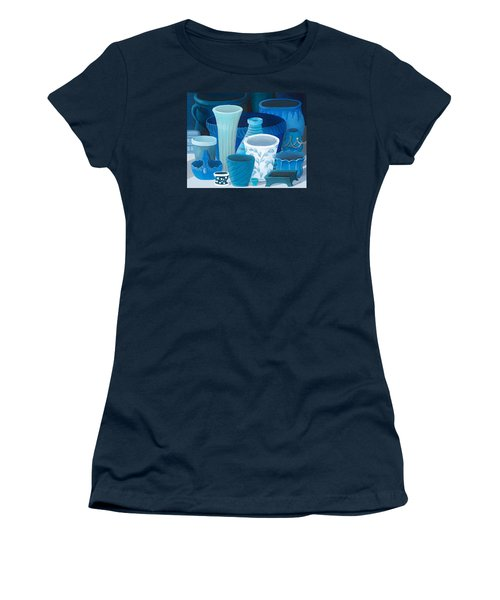 Study In Blue Women's T-Shirt (Junior Cut) by Katherine Young-Beck