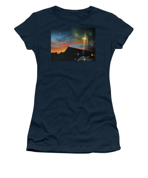 Suburban Sunset Oil On Canvas Women's T-Shirt (Athletic Fit)