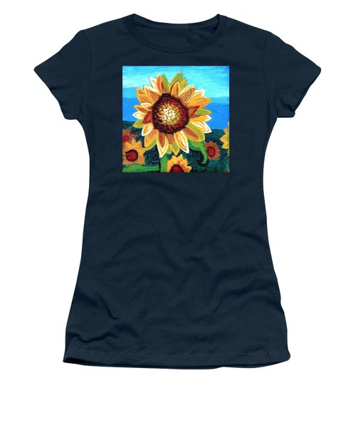 Sunflowers And Blue Sky Women's T-Shirt (Junior Cut) by Genevieve Esson