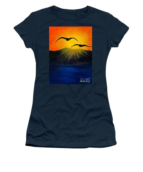 Women's T-Shirt (Junior Cut) featuring the painting Sunrise And Two Seagulls by Oksana Semenchenko