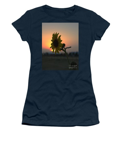 Women's T-Shirt featuring the photograph Sunset And Sunflower by Mae Wertz