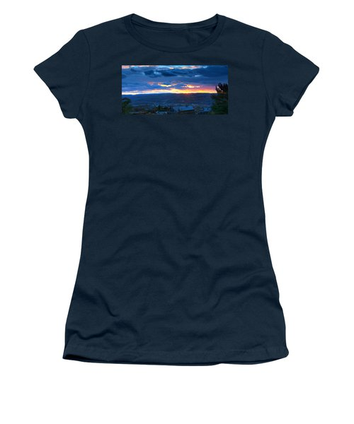 Sunset In Ithaca New York Panoramic Photography Women's T-Shirt (Athletic Fit)