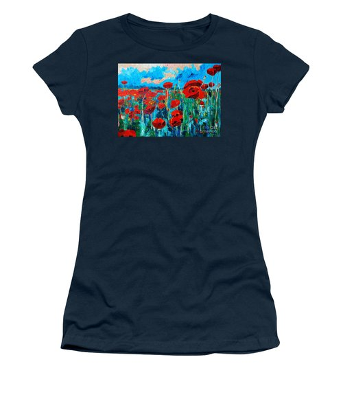 Women's T-Shirt (Junior Cut) featuring the painting Sunset Poppies by Ana Maria Edulescu