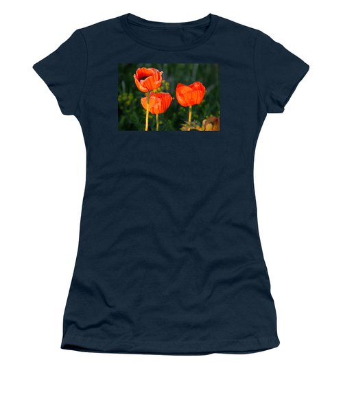 Sunset Poppies Women's T-Shirt (Junior Cut) by Debbie Oppermann