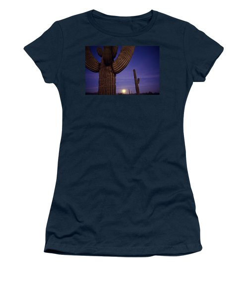 Sunset With Moonise Behind Saguaro Cactus In Desert Southwest Ar Women's T-Shirt (Athletic Fit)