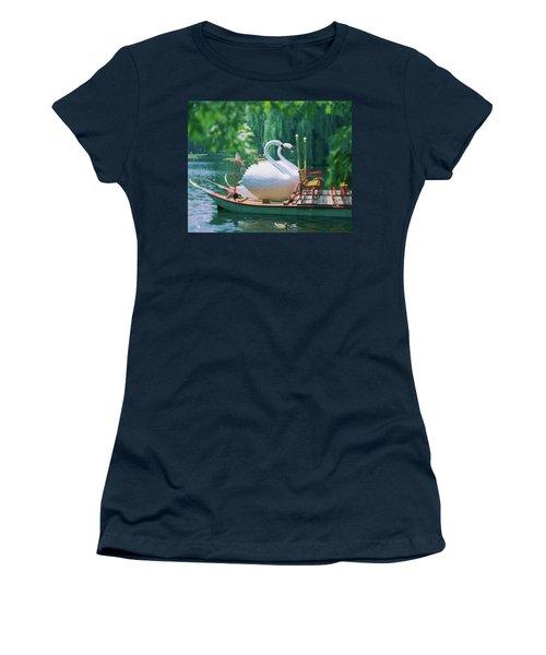 Swan Boats In A Lake, Boston Common Women's T-Shirt
