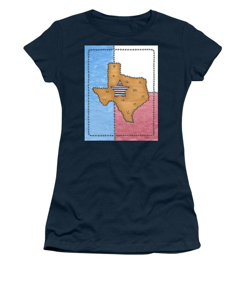 Women's T-Shirt (Junior Cut) featuring the painting Texas Tried And True Red White And Blue Star by Susie Weber