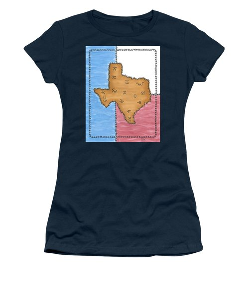 Women's T-Shirt (Junior Cut) featuring the painting Texas Tried And True Red White And Blue by Susie WEBER