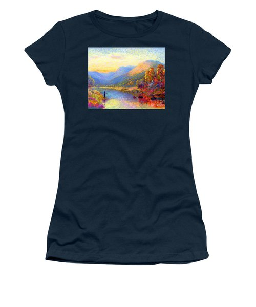 Women's T-Shirt (Junior Cut) featuring the painting Fishing And Dreaming by Jane Small