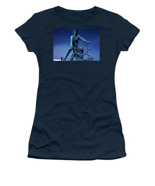 Women's T-Shirt (Junior Cut) featuring the photograph The Fisherman Statue Gloucester by Tom Wurl