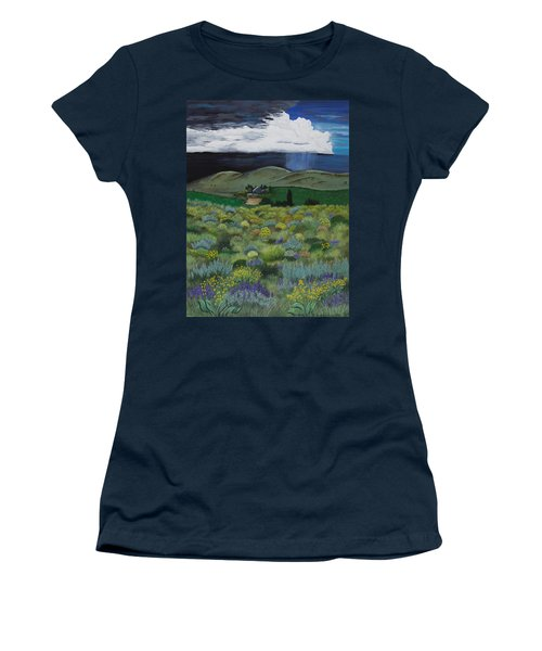 Women's T-Shirt (Junior Cut) featuring the painting The High Desert Storm by Jennifer Lake