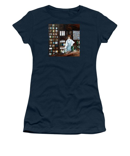 Women's T-Shirt (Junior Cut) featuring the painting The Old Pharmacy ... Medicine In The Making by Eloise Schneider