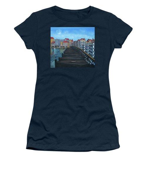 The Old Queen Emma Bridge In Curacao Women's T-Shirt (Junior Cut) by Frank Hunter