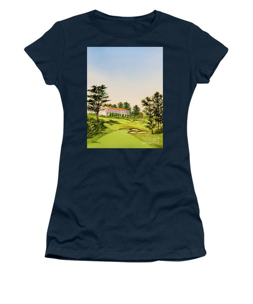 Women's T-Shirt (Athletic Fit) featuring the painting The Olympic Golf Club - 18th Hole by Bill Holkham