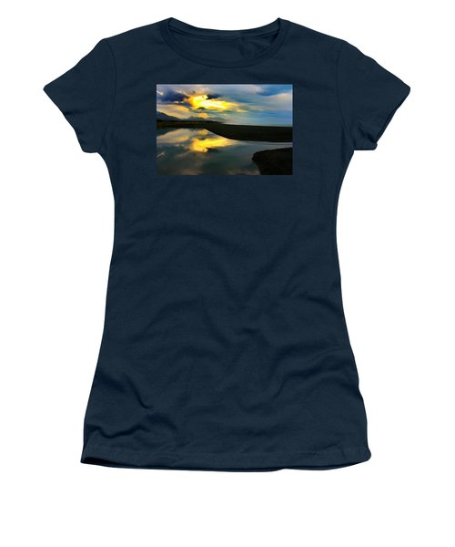 Women's T-Shirt (Junior Cut) featuring the photograph Tidal Pond Sunset New Zealand by Amanda Stadther