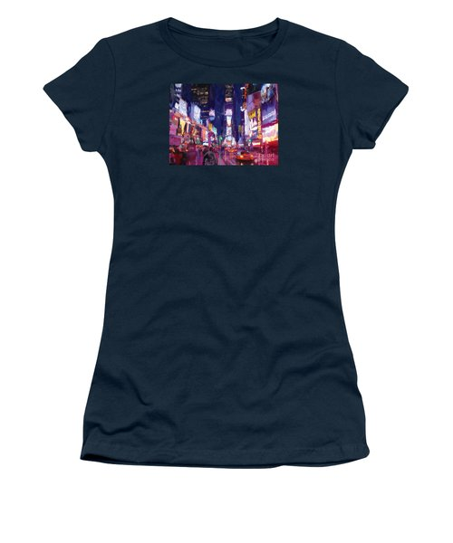 Amy's Time Square In The Rain Women's T-Shirt (Junior Cut) by Tim Gilliland