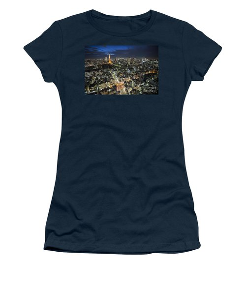 Women's T-Shirt featuring the photograph Tokyo Tower At Night by Bryan Mullennix