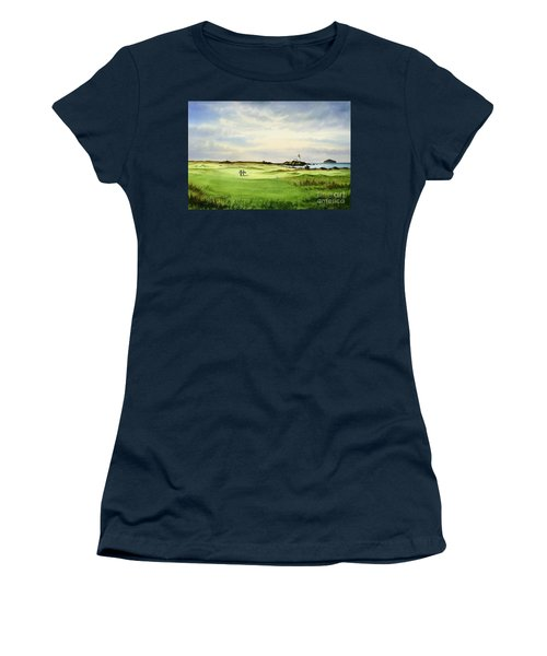 Women's T-Shirt (Athletic Fit) featuring the painting Turnberry Golf Course Scotland 12th Tee by Bill Holkham
