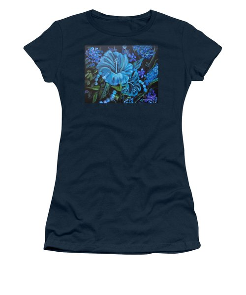 Turquoise Hibiscus Women's T-Shirt (Junior Cut) by Jenny Lee