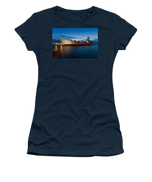 Uss Wisconsin At Sunset Women's T-Shirt (Junior Cut) by Jerry Gammon