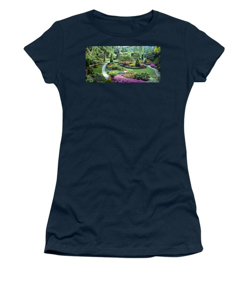 Vancouver Butchart Sunken Gardens Beautiful Flowers No People Panorama Women's T-Shirt (Athletic Fit)