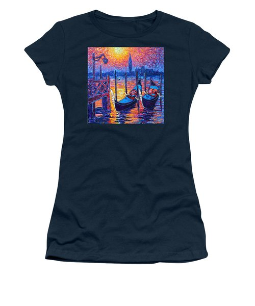 Venice Mysterious Light - Gondolas And San Giorgio Maggiore Seen From Plaza San Marco Women's T-Shirt (Athletic Fit)
