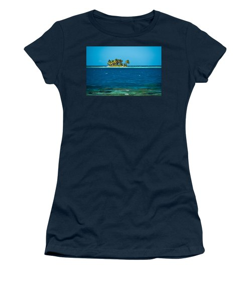 View Of Silk Caye Island With Palm Women's T-Shirt
