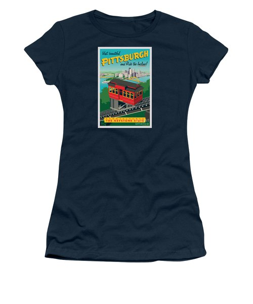 Vintage Style Pittsburgh Incline Travel Poster Women's T-Shirt (Junior Cut) by Jim Zahniser