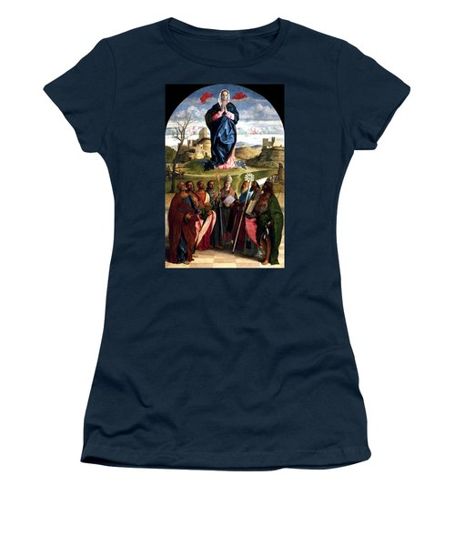 Women's T-Shirt (Junior Cut) featuring the painting Virgin In Glory With Saints 1515 Giovanni Bellini by Karon Melillo DeVega