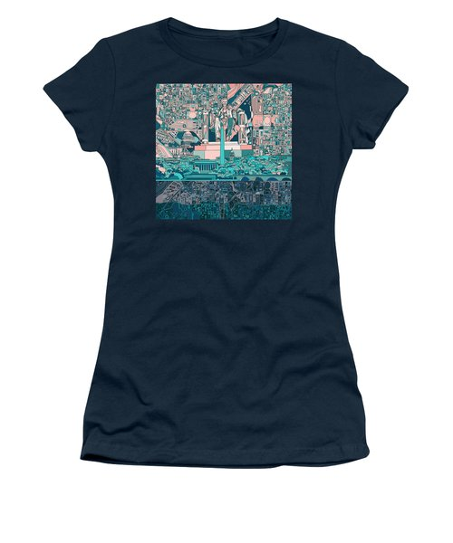 Washington Dc Skyline Abstract 5 Women's T-Shirt (Athletic Fit)