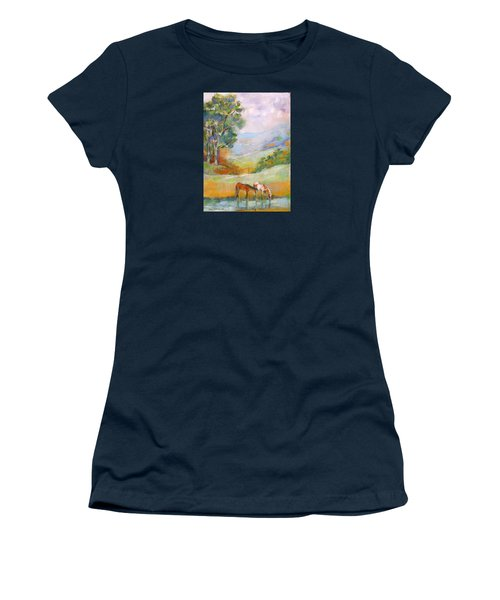 Women's T-Shirt (Junior Cut) featuring the painting Water Hole by Mary Armstrong