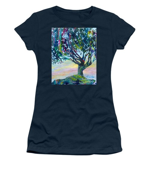 Whimsical Tree Pastel Sky Women's T-Shirt (Junior Cut) by Denise Hoag