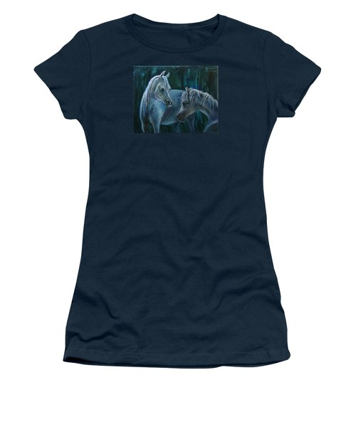Women's T-Shirt (Junior Cut) featuring the painting Whispering... by Xueling Zou