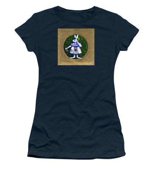Women's T-Shirt (Junior Cut) featuring the mixed media White Rabbit Wonderland by Donna Huntriss