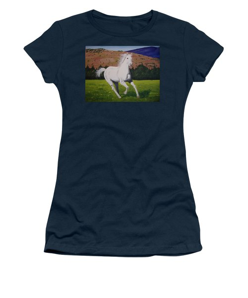 Women's T-Shirt (Junior Cut) featuring the painting White Stallion by Norm Starks