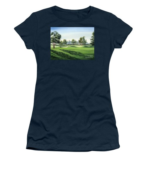 Women's T-Shirt (Athletic Fit) featuring the painting Winged Foot West Golf Course 18th Hole by Bill Holkham