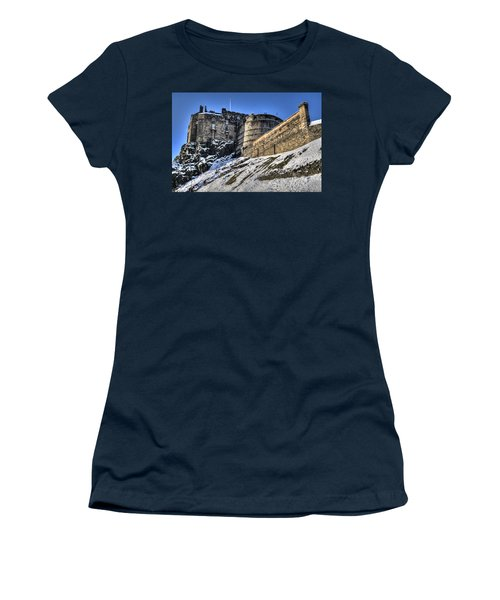 Winter At Edinburgh Castle Women's T-Shirt (Athletic Fit)