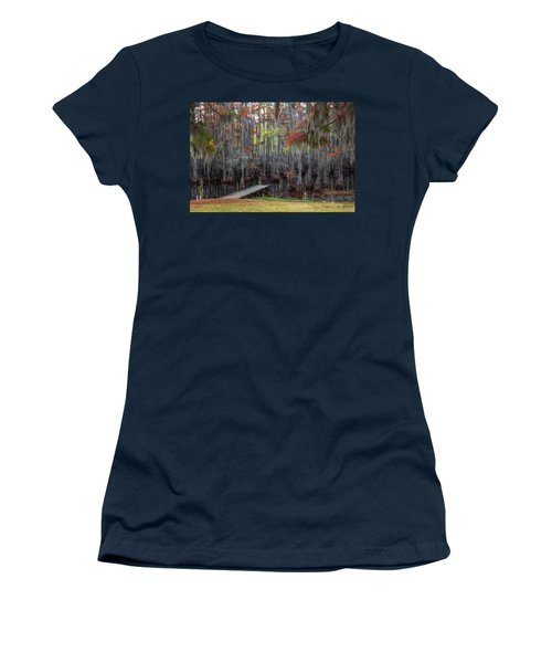 Wooden Dock On Autumn Swamp Women's T-Shirt (Athletic Fit)