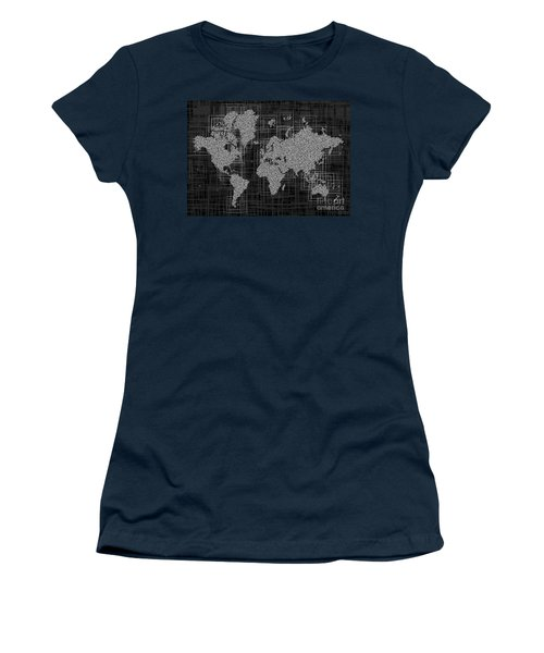 World Map Rettangoli In Black And White Women's T-Shirt (Junior Cut) by Eleven Corners